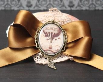 Hair clip brooch; Steampunk balloon