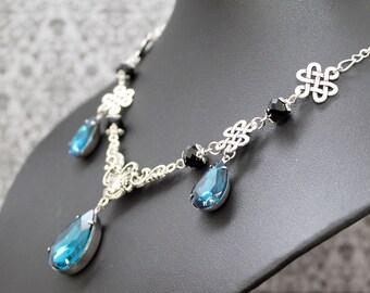 Sparkle necklace - silver petrol