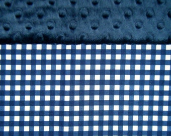 Nap Mat Cover / Toddler Cot Cover with Padded Minky Dot Headrest - Navy Gingham