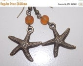 CLEARANCE 30%OFF Bronze Amber Starfish Earrings
