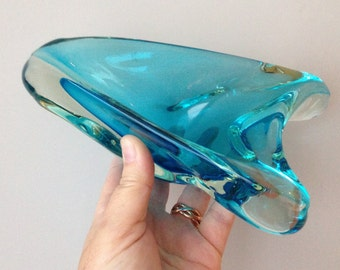 vintage retro heavy cased blue art glass bowl or dish three corners
