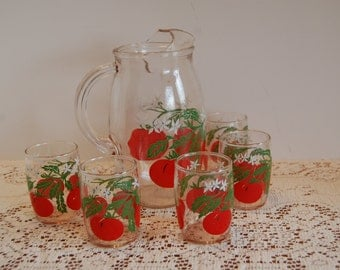 Vintage Tomato Juice Pitcher and 5 Juice Glasses