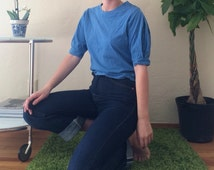 Blue Princess Sleeve Crop Shirt
