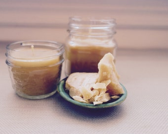 Natural Beeswax Candle Mason Jar