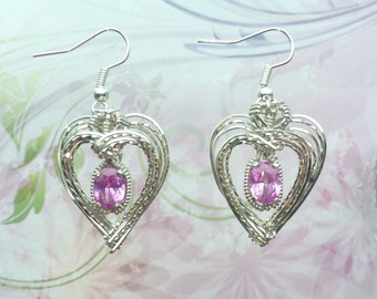Nested Heart Gemstone or Birthstone Dangle  Earrings Wire Wrapped Jewelry Handmade in Silver FREE SHIPPING