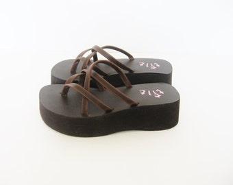 90s Brown Platform Sandals - 8