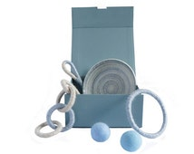 Luxury Gift Set for Cats in Blue -  The Colour Collection - Hand Picked Selection of Toys and Feeding Dish for Cats in Accents of Blue