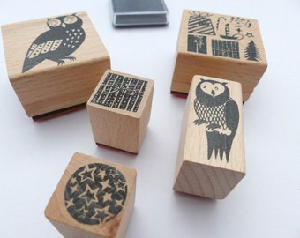 Stamp set Christmas owls