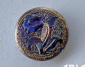 CZECH GLASS BUTTON: 31mm Handpainted Tulip Czech Glass Button, Pendant, Cabochon (1)
