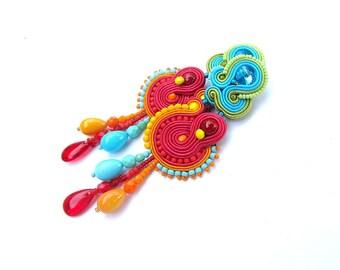 Long Colorful Dangle Earrings , Handmade Soutache Earrings