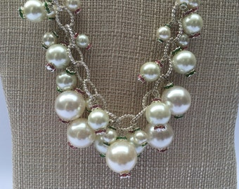 Nikki - Pearl Necklace, Spring Necklace, Pink and Green Rhinestones,Pearl Cluster Necklace, Chunky Necklace, Bridal Jewelry, Spring Jewelry