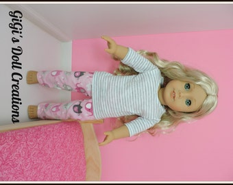 Doll PJ's  with elephants fits American Girl Doll or other 18 Inch dolls, Handmade, Pink, Grey, Pajamas, Doll Shirt, Doll Pants, Chevron