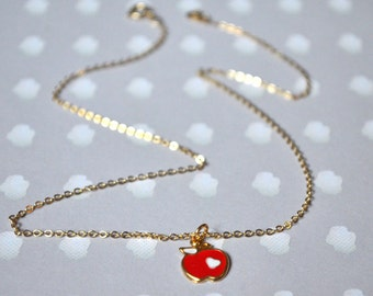 Gold pendant necklace red apple