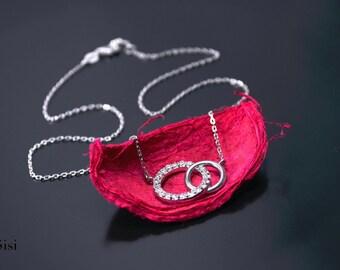 Double Necklace silver zirconium ring