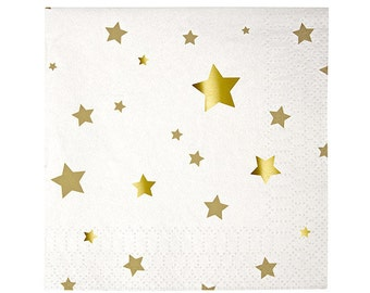 "SALE! Gold Stars Napkins (Set of 16) - Meri Meri 5"" Metallic Gold Napkins"