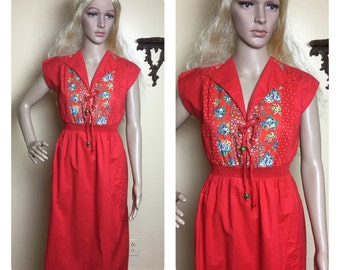 Sale Vintage  Young Edwardian Dress 70s mini sundress 1970s Embroidered patchwork  dress
