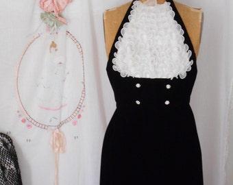 1930's Inspired Black Velvet Halter Gown with Ruffled Bid/Rhinestone Buttons