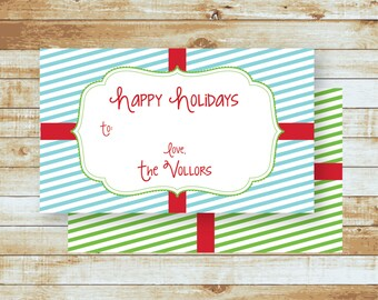 Personalized Holiday Gift Tags / Happy Holiday Stripes