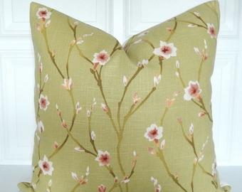 Green Pillow Cover - Decorative Pillow - 18x18, 20x20, 22x22, Lumbar - Cherry Blossom - Linen - Toss Pillow - Basil Green, Mauve - Floral