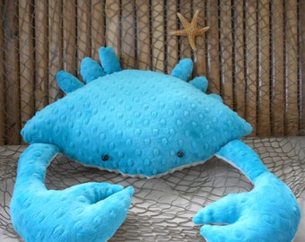 Crab pillow, nautical decor, 3D crab pillow,coastal living, home decor, beach pillows, childs toy crab,decorative cushions
