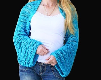 Bolero.Hand knit Shrug. Blue Shrug. Hand Knit Bolero.MADE TO ORDER