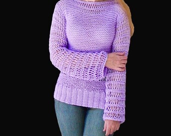 Knit sweater.Hand knit sweater.Women's sweater.Lavender sweater