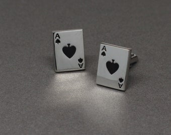 Silver and Black Ace of Spades Playing Card Cuff Links