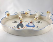 West Coast Pottery California Centerpiece Bowl, Dutch Figures, Five Individual Birds
