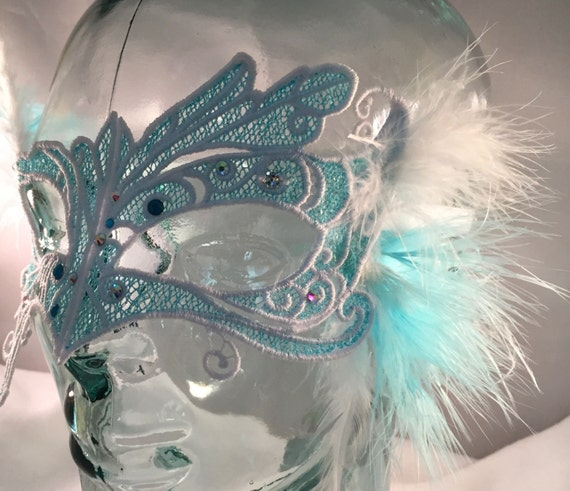 Ice Queen! Lace feather crystal mask masquerade ball mardi gras SALE price