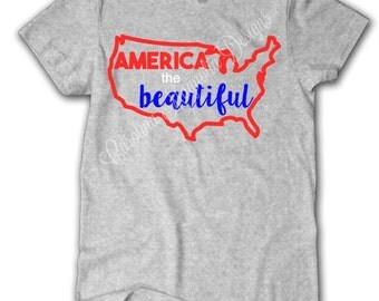 America the Beautiful with USA outline top-Patriotic, Memorial Day, July 4th