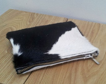 Cowhide purse - Black/White, Cowhide pouch - natural black/ white hairon cowhide