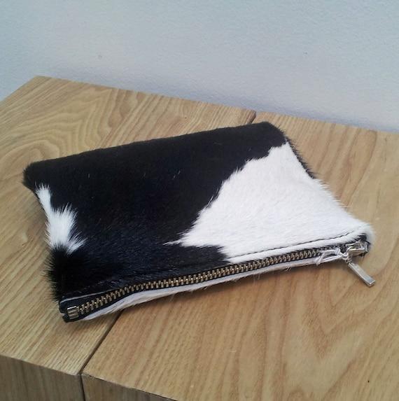 Cowhide purse - Black/White, Cowhide pouch - natural black/ white hairon cowhide