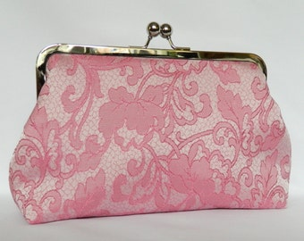 Pink Floral Clutch, Pink Wedding Clutch, Pink Bridal Clutch, Bridesmaids Clutch, Bridesmaids Gifts, Evening Clutch, Pink Clutch
