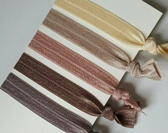 Elastic Hair ties, Blush Hair Ties, Neutral Hair Ties, Hair Tie Sets, Neutrals, Natural pallet, Set of 5