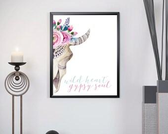 "Floral Deer Skull Print, Skull Printable, Bohemian Deer Art Printable Instant Download, ""Bohemian Skull"" Gypsy Soul 8x10 Digital Print"