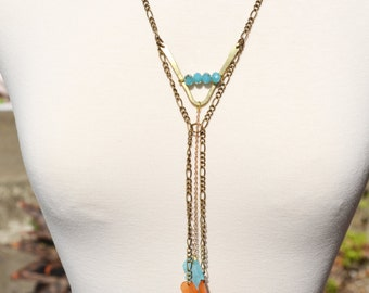 Turquoise Chevron Y Necklace Chain, Fall Leaf Body Chain Crystal Necklace Bohemian Jewelry Handmade