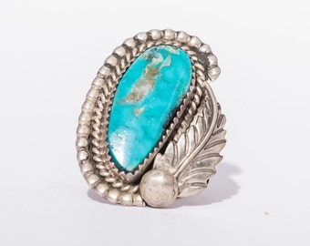 Vintage Southwest Native American Turquoise & Sterling silver Ring Size 9