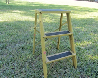 Vintage Metal Step Ladder, Small Ladder, Kitchen Stool, Rustic, Photo Prop, yellow,