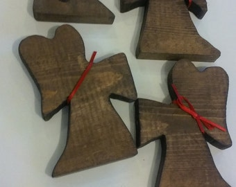 Four Wooden Christmas Angels