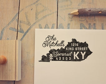 Kentucky Return Address State Stamp - Personalized Rubber Stamp