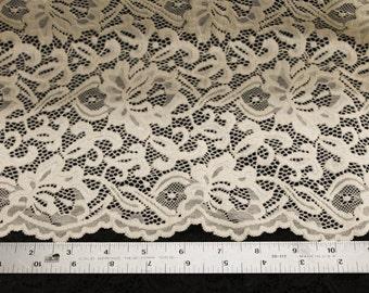 Natural Rebecca Pattern Stretch Scallop Lace Fabric - 1 Yard Style 670