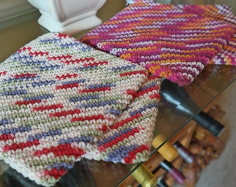 Handmade Crocheted Double-Layered Thick Hot Pad / Pot Holders (Set of 2)