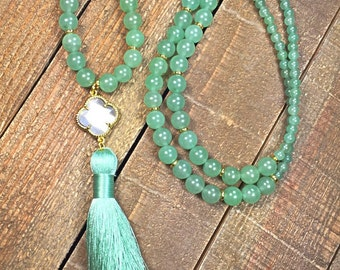 Tassel necklace, womens necklace, jade necklace, beaded necklace, jewelry, gifts for her, necklaces, gifts for women, womens fashion