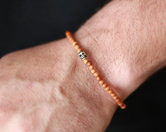 4MM Mens Sandalwood  Bracelet - 4mm Silver Accent bracelet