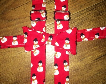 Christmas tie suspenders/Winter/Holiday boy tie/toddler tie/infant tie/ bowtie Suspender/red snowman/Christmas outfit