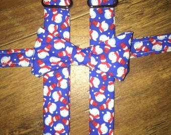 Christmas tie suspenders/Winter/Holiday boy tie/toddler tie/infant tie/ bowtie Suspender/blue with snowman/Christmas outfit child