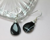 Black Onyx Silver Earrings, Onyx Teardrop Dangles, Genuine Onyx Gemstones, Protection Stone, July Birthstone