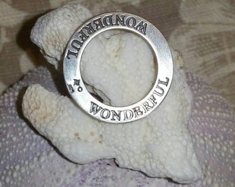 Sterling silver round charm Wonderful