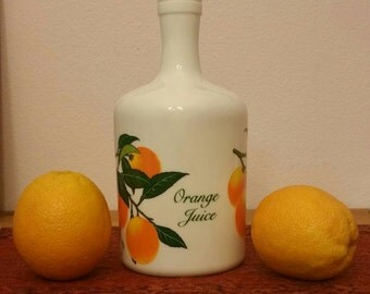 Vintage milk glass orange juice carafe