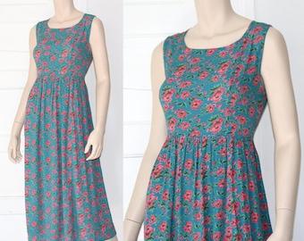 90s petite floral garden dress - small or medium
